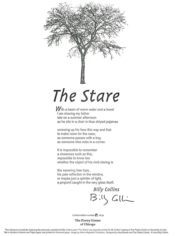 """introduction to poetry by billy collins The trouble with billy collins is that his poetry incites poetry—a phenomenon that is the subject of his own title poem, """"the trouble with poetry"""" """"but mostly poetry/fills me with the urge to write poetry,"""" are the pivotal lines."""