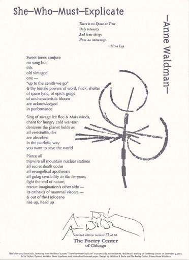 Anne Waldman - She Who Must Explicate